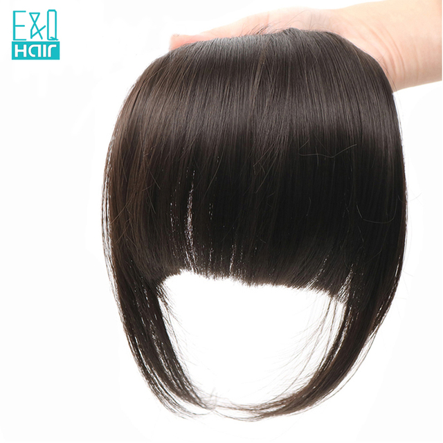 EQ Hair Brazilian Remy Clip In Straight 100% Human Hair Bangs With Baby Hair Natural Color Fringe Hair