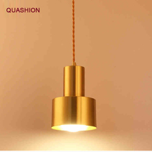 Nordic Contracted Copper color Pendant Lights Gold decorative brass hanging lamp Europe industrial luminaire suspendu