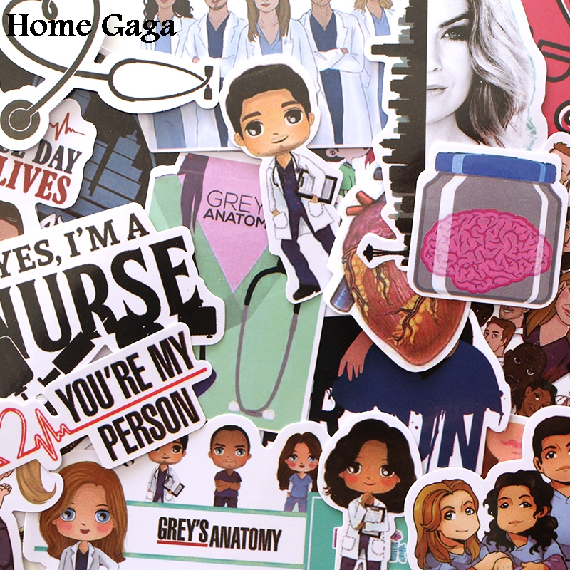 Homegaga 23pcs Greys Anatomy doctors scrapbooking decals Creative badges DIY decorative stickers vintage notebook phone D1718