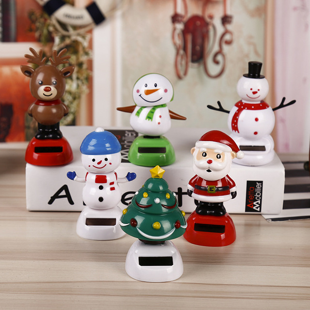 Christmas Themed Solar Powered Dancing Santa Claus Swinging Bobble Novelty Toys Car Decor Dancing Solar Toy Kids Christmas Gift 2