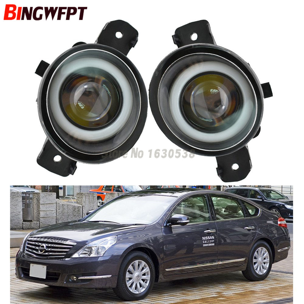 2PCS Car Styling Angel eye+ LED Fog Lights Left /Right Front Fog Lamp For Nissan Teana J32 For Nissan Primera P12 2001-2008 image
