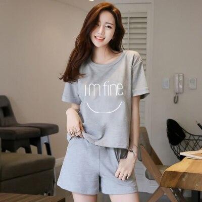 Fashion Women 2018 Summer NightWear Leisure Home Cloth Short Sleeve Thin Polyester Pajamas Sets Women Girl Sleepwear Set 3