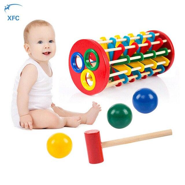 XFC Детские Дети Деревянный Вращающийся Выбить Мяч Лестница Образовательные Игрушки Подарок