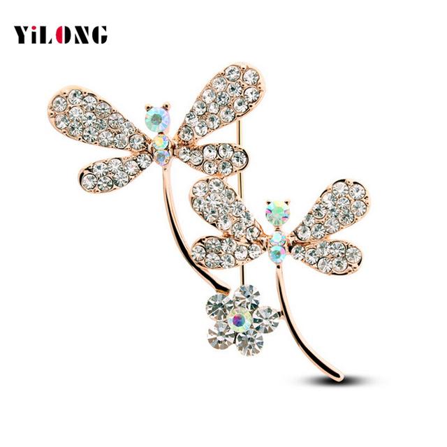 A Nova Alta Qualidade de Cristal Cachecol Broche Broche Pin Nupcial Do Casamento de Cristal Jóias de Strass Completo Animal Dragonfly Broche 4991