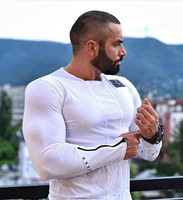 New Fashion Men Tops Muscle Slimfit Muscle Sweatshirt Pullover Casual T Shirt Gyms Shirts Sporting Full