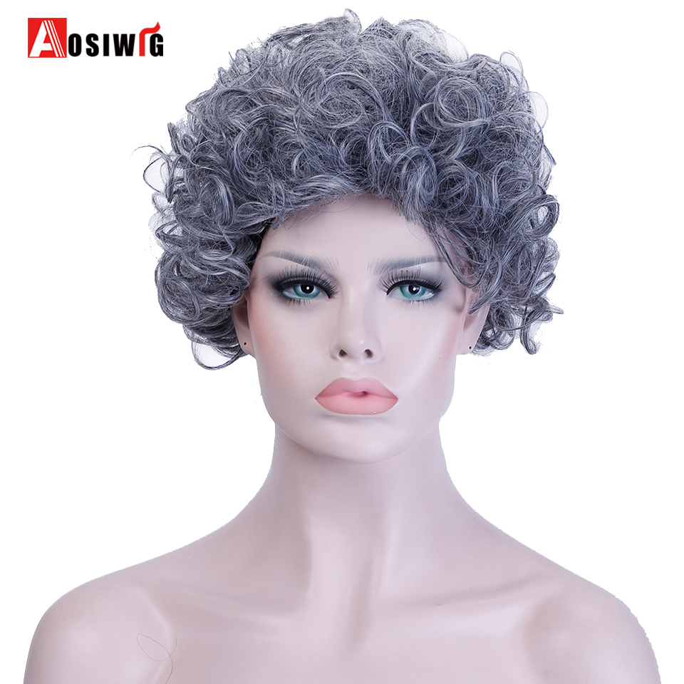Syntetisk hår Kort Afro Kinky Curly Paryk 2 farver Fiber kostume ved høj temperatur-2246