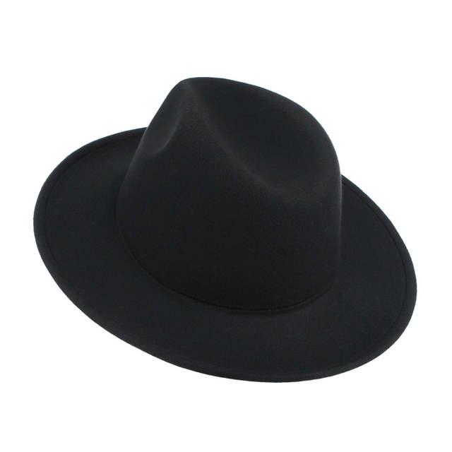 8383faa1908b1 Online Shop Vintage Men Hats Classical Jazz Cap Solid Color Wide Brim Felt  Hats Autumn Winter Warm Jazz Caps Church Panama Men Fedoras