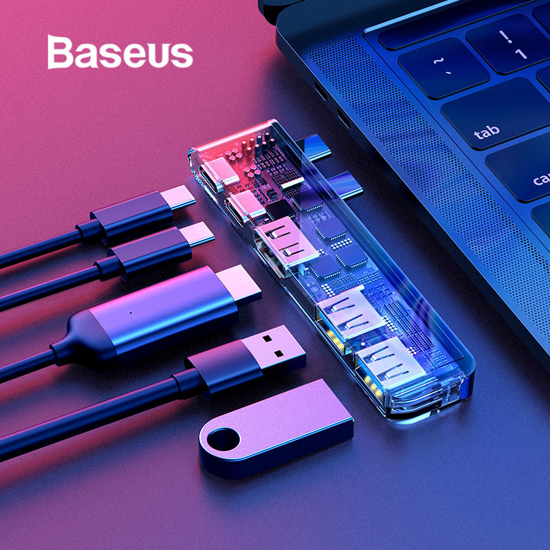 Baseus Type C USB 3.0 adaptateur moyeu pour MacBook Pro 2016/2017/2018 double USB-C répartiteur de moyeu HDMI Thunderbolt double USB 3.0 USB HUB