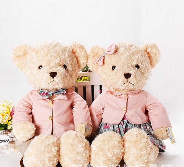 2PCS 25CM Kawaii Teddy Bear Plush Toy Stuffed Couple Bears Soft Kids Toys Baby Huggable Doll Children Girls Gifts 029 2pcs pair lovely couple teddy bear with cloth dress plush toy stuffed baby doll girls