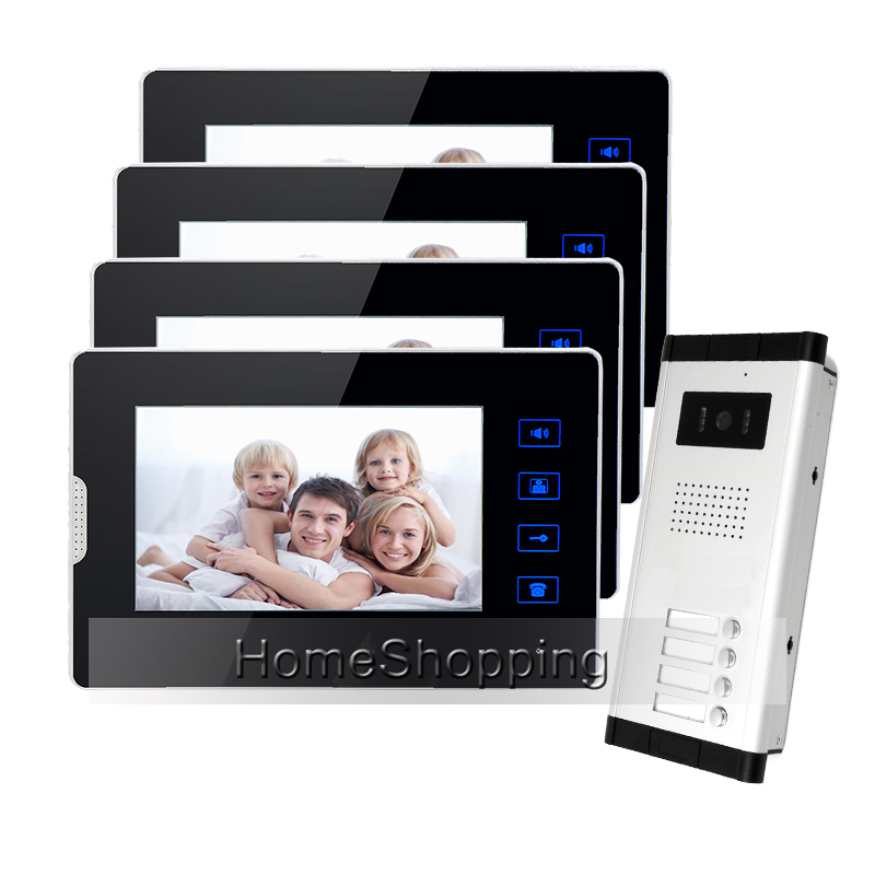New apartment doorbell intercom 7 lcd touch key video door for Door intercom