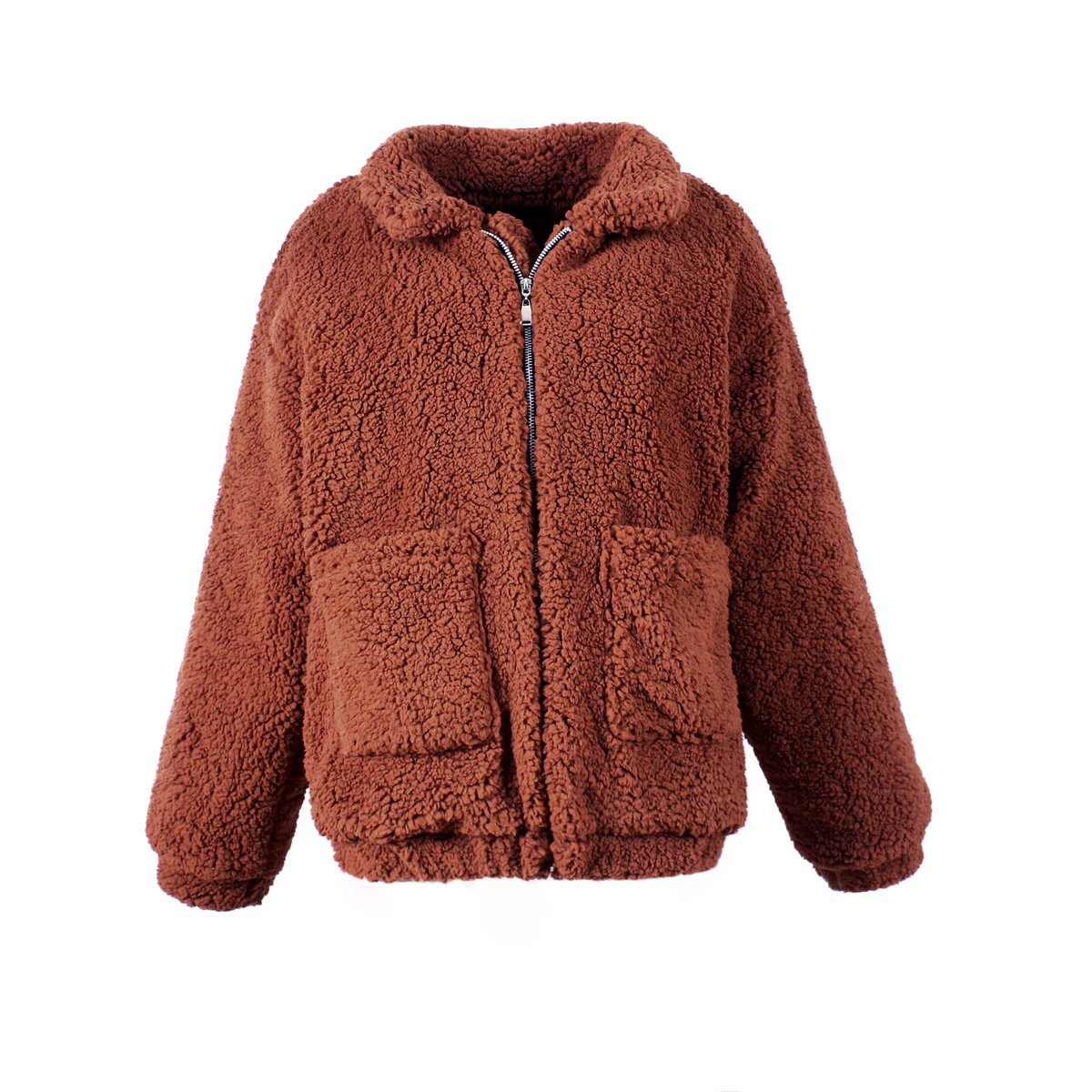 army khaki black Faux Lambswool Zipper Coat Jacket Autumn Plus camel 3xl Teddy Thicken purple Outerwear Colour Warm Begie pink red Winter Hairly Size Women 2018 Green qUTrRqdx