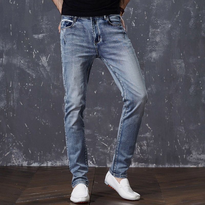 SULEE Brand Mens Jeans Trendy Stretch Blue Grey Denim Men Slim Fit Jeans Trousers Pants Size 30 32 34 35 36 38 40 42 44 Jean drizzte men s jeans classic stretch blue denim business dress straight slim jeans size 34 35 36 38 pants trousers jean for men