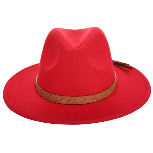 4b479c1202b 2017 Winter Elegant Women Felt Solid Fedora Hat With PU Leather Band Wide  Flat Brim Jazz