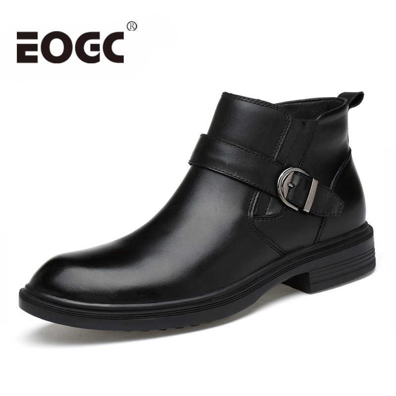 66446cbe6690 Ручной работы Мужские ботинки из натуральной кожи ботильоны осенняя и  зимняя мужская обувь теплые зимние ботинки