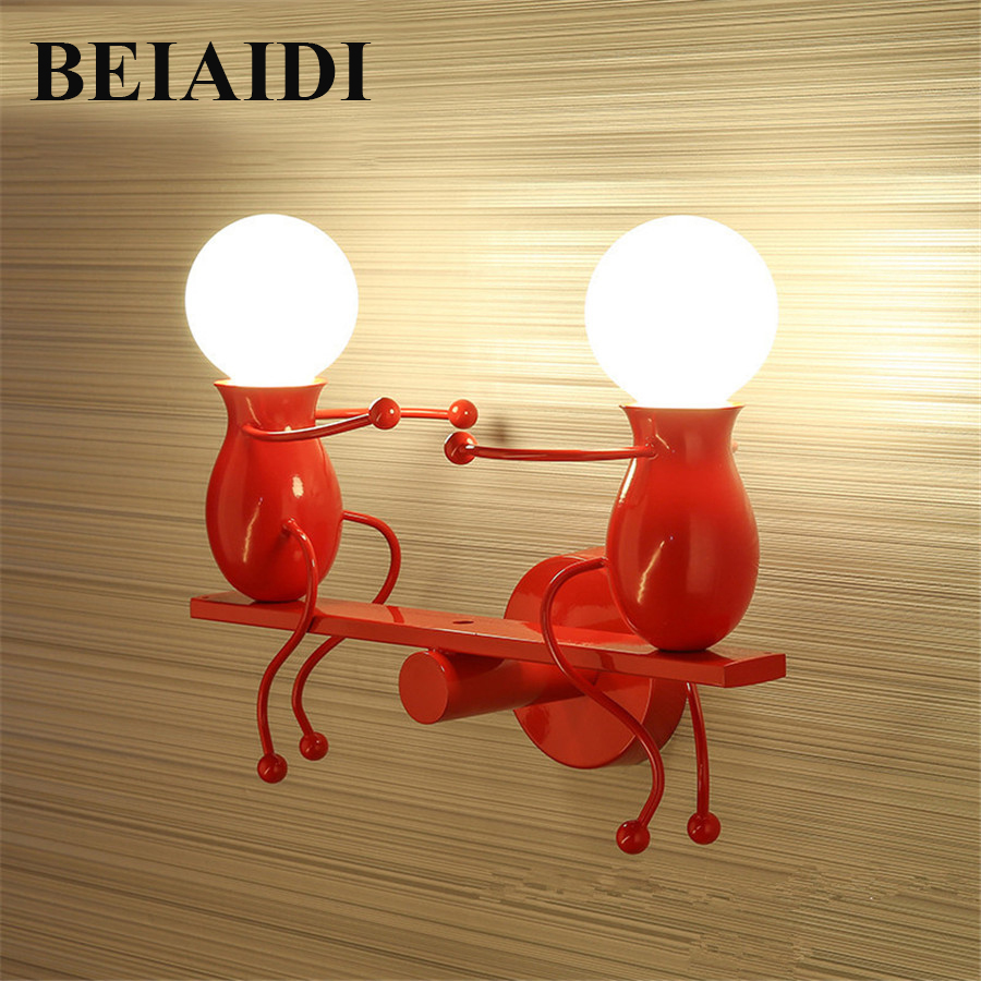 BEIAIDI Modern LED Wall Light Fixtures Creative Cartoon Little People Mini Wall Sconces Lighting Iron Wall Lamp For Home Hotel modern led wall lamp metal wood wall light fixtures home lighting e27 led bedroom bedside decoration wall sconces