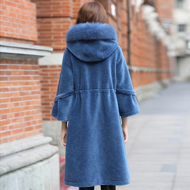 Des Fourrure Fox Naturel Moutons Mode Réel Z378 Tonte Capuche Trim Fur Chaud Femelle Veste De Long Bleu Manteaux Laine Femmes D'hiver Manteau Nouveau naqYExwTq
