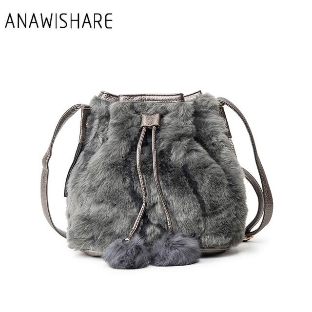 ANAWISHARE Women Bucket Bags Handbags Fur Shoulder Bags Black Crossbody Bags  For Girls Designer Tote Bags Bolsa Feminina f6adb580e6