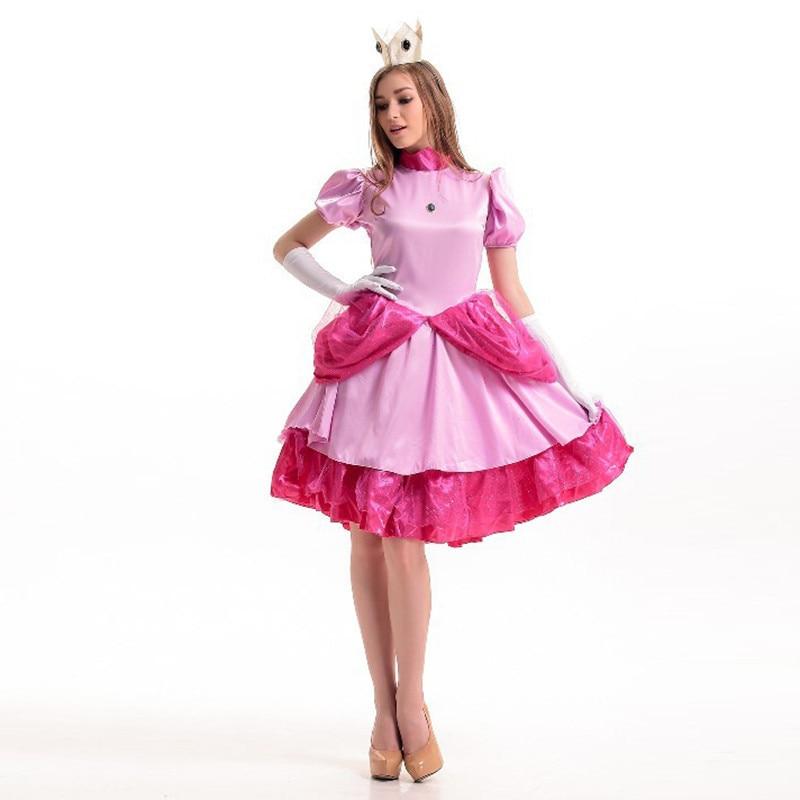 Deluxe Adult Women Anime Pink Princess Peach Costume Super Mario