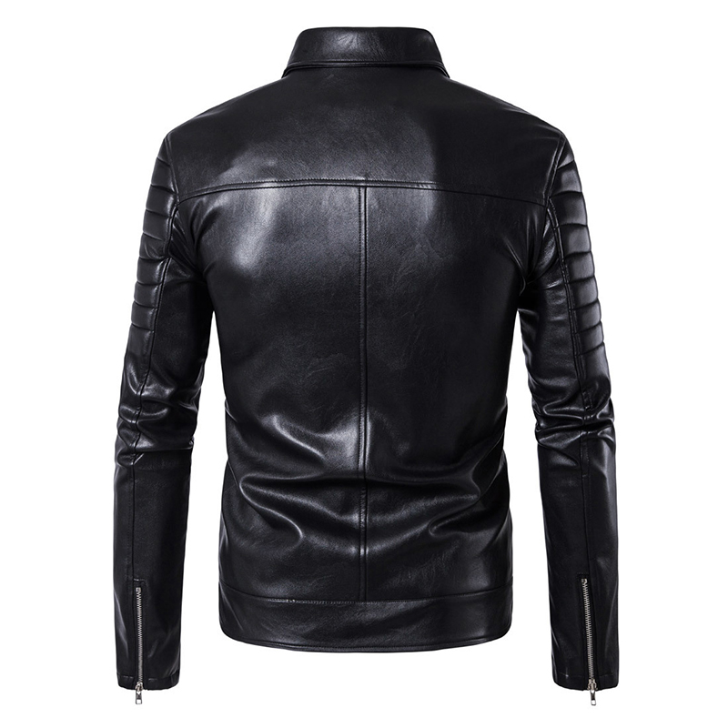 Image 2 - Puff sleeve business casual leather coat New winter Fashion leather jackets slim fit Men Classic leather jacket M 5XL size-in Faux Leather Coats from Men's Clothing