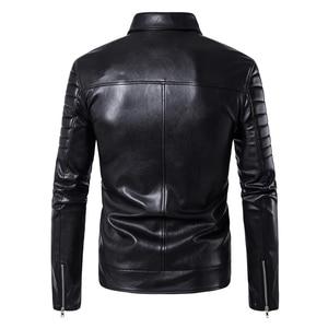 Image 2 - Puff sleeve negócios casual casaco de couro nova moda inverno jaquetas de couro fino ajuste masculino clássico jaqueta de couro M 5XL tamanho