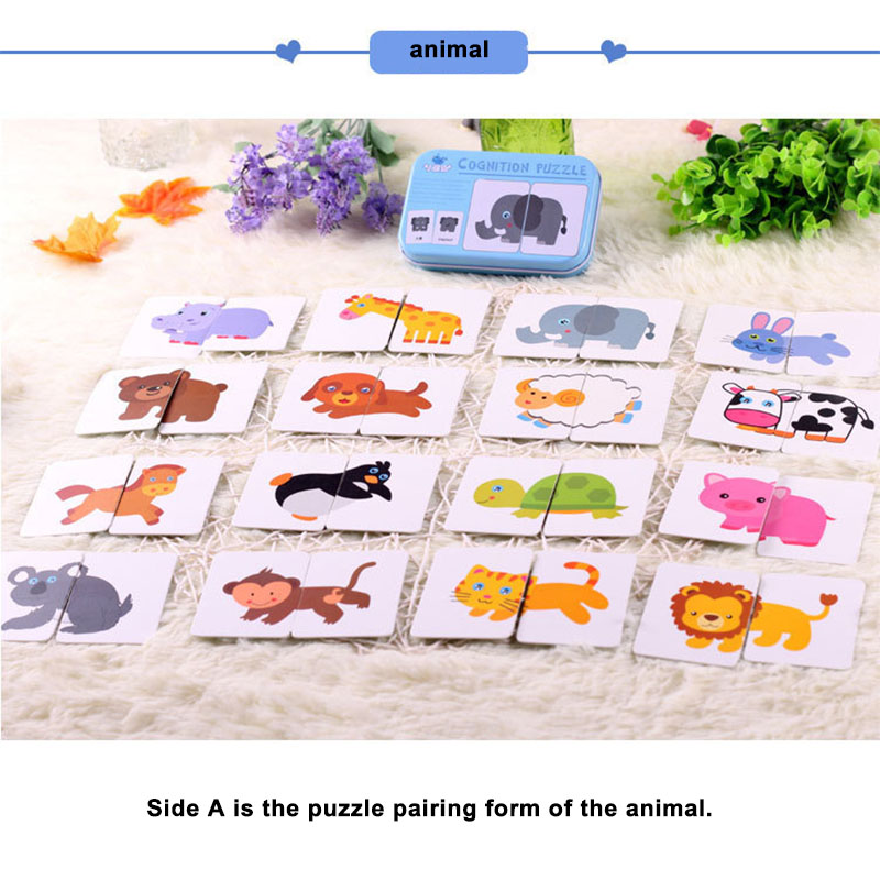 New Baby Toy Infant Early Educational Puzzle Cognitive Card Graph Match Game Fruit/Animal Set Pair Puzzle Tangram With Cards