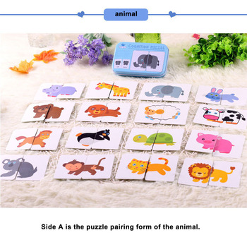 цена New Baby Toy Infant Early Educational Puzzle Cognitive Card Graph Match Game Fruit/Animal Set Pair Puzzle Tangram With Cards онлайн в 2017 году