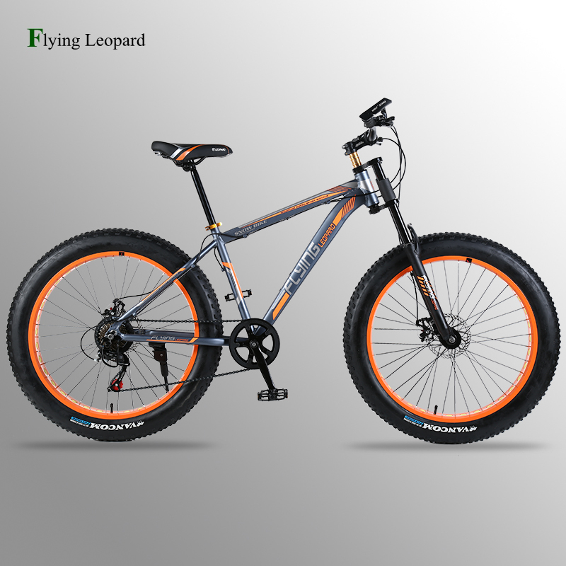 цена bicycle Mountain bike road bike aluminum frame 7/21/24 speed mechanical brakes 26 x 4.0 wheels long fork Fat Bike fahrrad