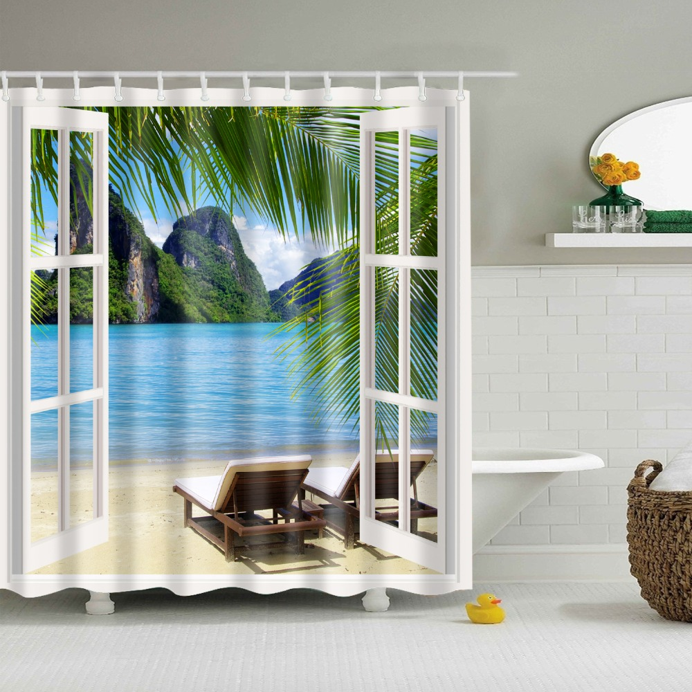 luxury smart beach sea tree shower curtain waterproof mildewproof polyester fabric bath curtains