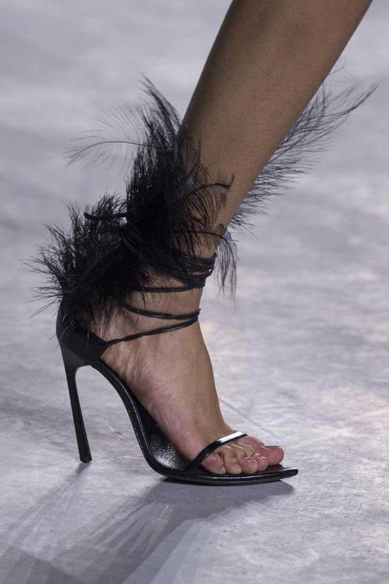 Las Negro Fiesta Cuero Verano Alto El En As Atado Abierto Tacón Picture Cruz Pluma Zapatos Mujer Sexy Tobillo 1wAUx1a