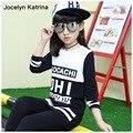 Jocelyn Katrina Chicas Camisetas de Algodón Casual Niños Grandes Ropa Muchachas de la Impresión de la Manga Completa Carta Ropa de Bebé O-cuello de la Ropa de Las Muchachas