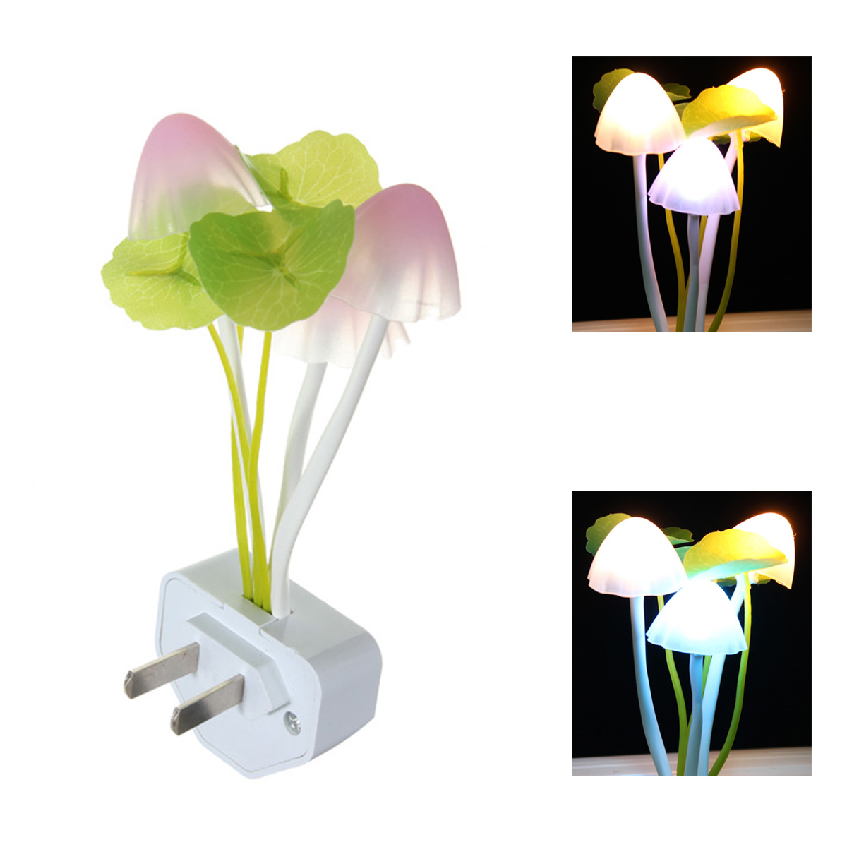 Mushroom Fungus LED Night Light US/EU Plug Light Sensor 110-220V 3 LED Colorful Wireless Wall Lamp for Baby Children Nightlight