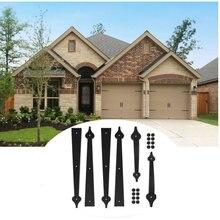 LWZH Metal Gate Door House Hinge Handle Set Sliding Barn Door Carriage Accents Door Hardware Black 2 Handles 4 Hinges
