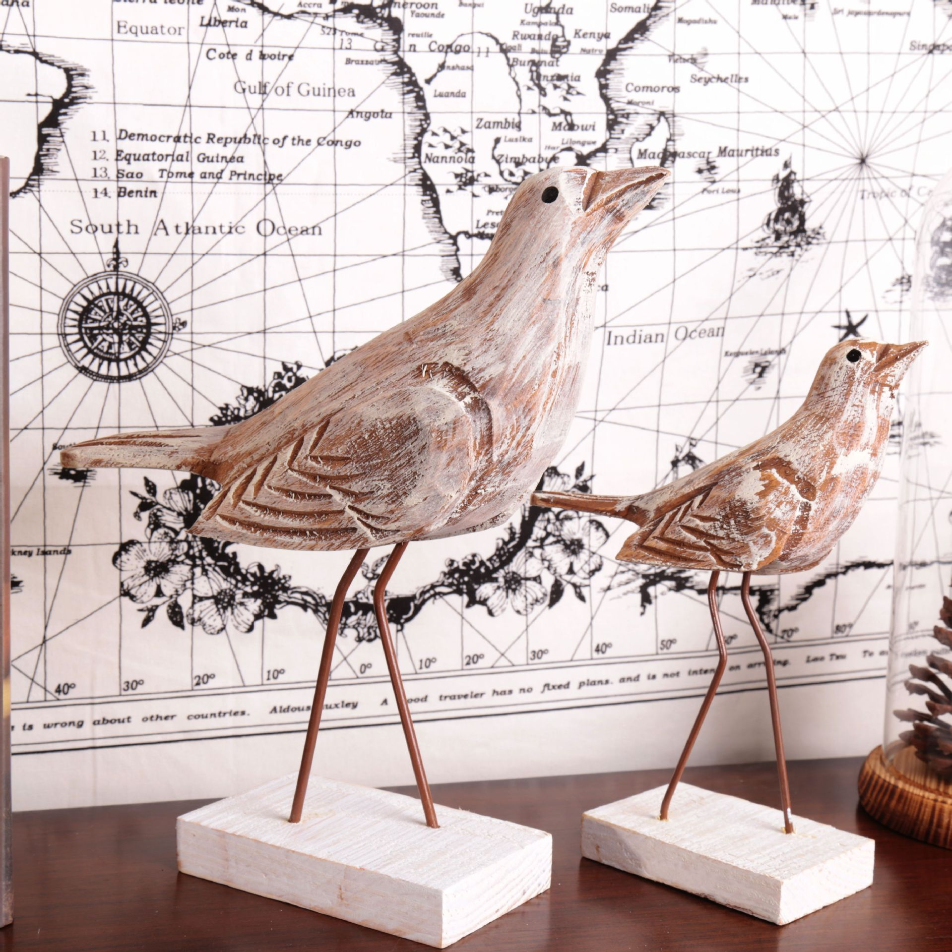 Mediterranean Style Vintage Home Decor Marine Carved Wood Crafts Birds 1pairs China Mainland