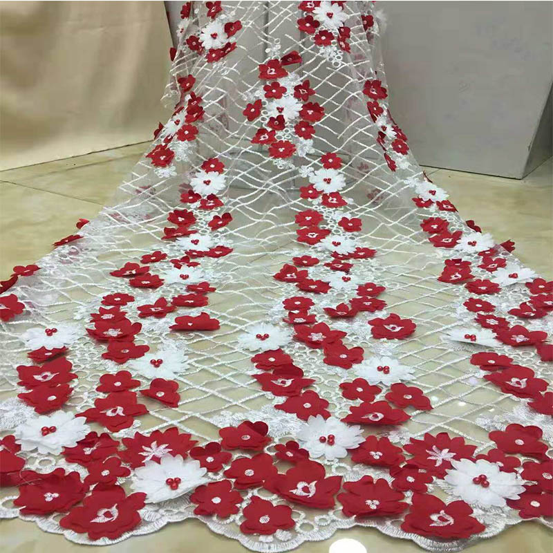 Latest French 3d Lace Fabric High Quality African Lace Material With Beaded Beautiful Flower Embroidery Bridal Lace