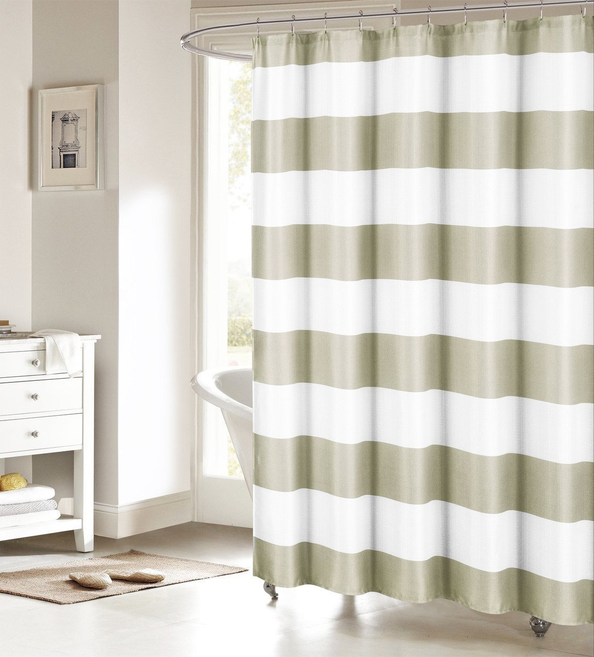 Peva shower curtain nautical design - Memory Home Fabric Shower Curtain Nautical Stripe Design Sand And White Bathroom Decor Waterproof Polyester Shower
