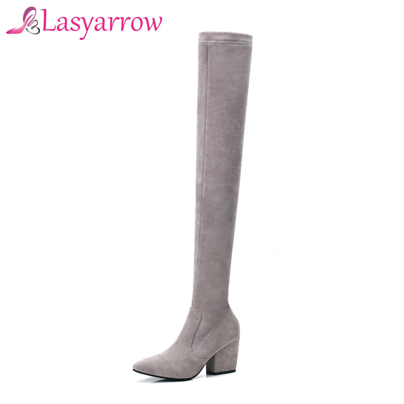 Lasyarrow Womens Shoes Thick Heels Elastic Sexy Long Boots Fashion Zipper Velvet Boots for Woman Over The Knee Stretch Boots