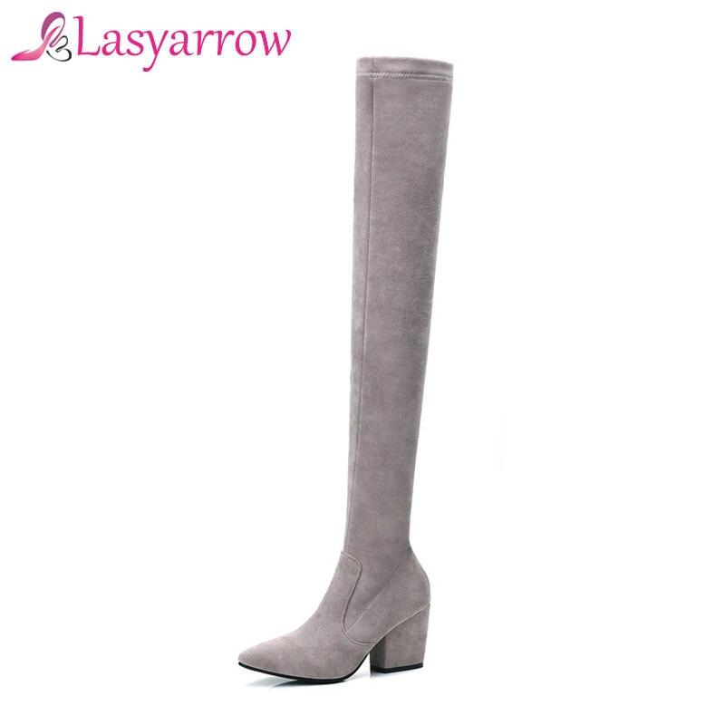 Rodilla Sobre Calzado Gruesa Moda Terciopelo Para Elásticos Largos Cremallera Tacones Mujer Estiramiento Botas Lasyarrow La ZCqxwO7C