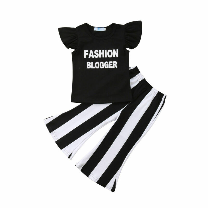 New Summer Kid Baby Girl Balck Fly Sleeve Fashion letter Ruffle Tops Flare Striped Long Pants Casual Holiday Outfits Sets 2 PCS(China)