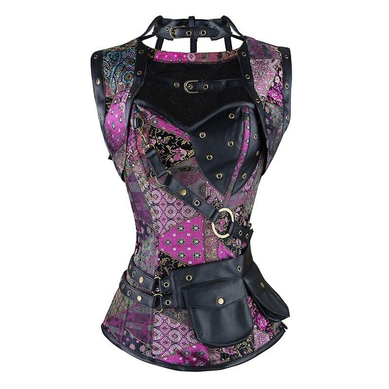 Rouge noir Steampunk Corset gothique vêtements acier désossé Sexy Corsets et Bustiers Vintage Burlesque grande taille Corselete Feminino