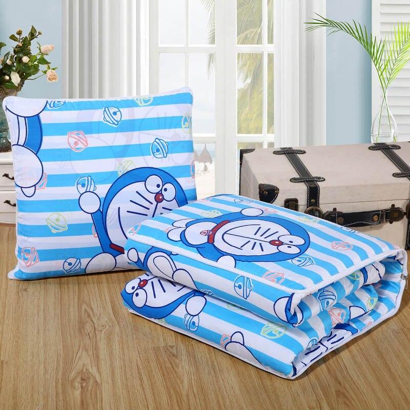 Doraemon Stripe Multifunction Cushion Blanket 40*40cm Back Throw Pillows Office Chaise Lounge Chair Pads Single 1.1x1.5m Child
