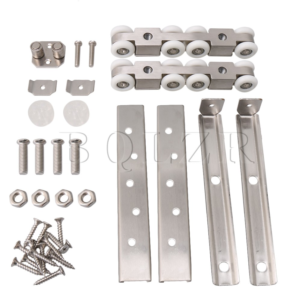 BQLZR Track Barn Wood Sliding Door Closet Hardware Stainless Steel Rollers Load-bearing 100kg 8 Wheels Pulley bqlzr silver steel rail hanging trolley wheel sliding track roller load bearing 90kg w nut h3 1 for barn door home hardware