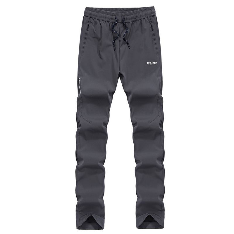 Plus Size 6XL Brand AFS JEEP Men's Outdoor Pants Autumn Winter Elastic Waist Waterproof Sweatpants Softshell Hiking Pants Men
