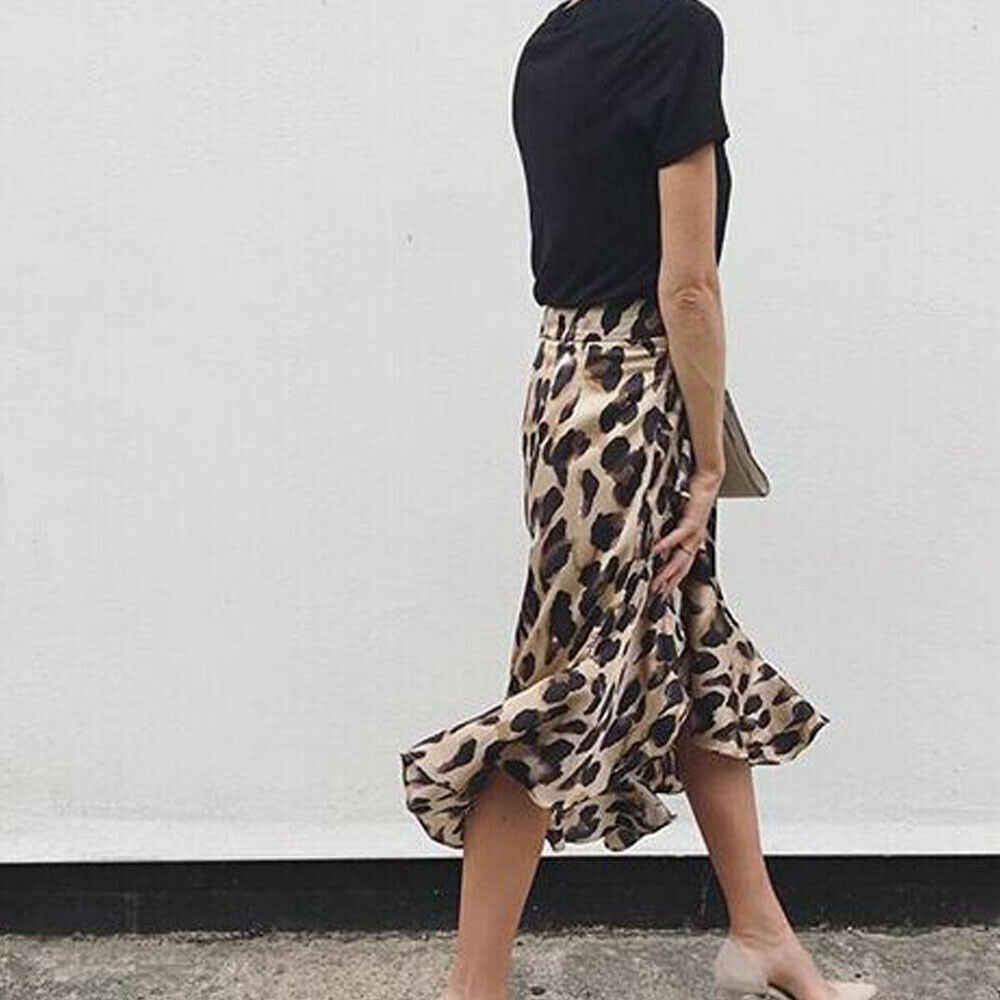 נמר חצאית נשים אופנה סקסי לעטוף מעל סימטרי עגל אורך חצאית גבירותיי קיץ מקרית גבוהה מותן Slim חצאיות קיצית