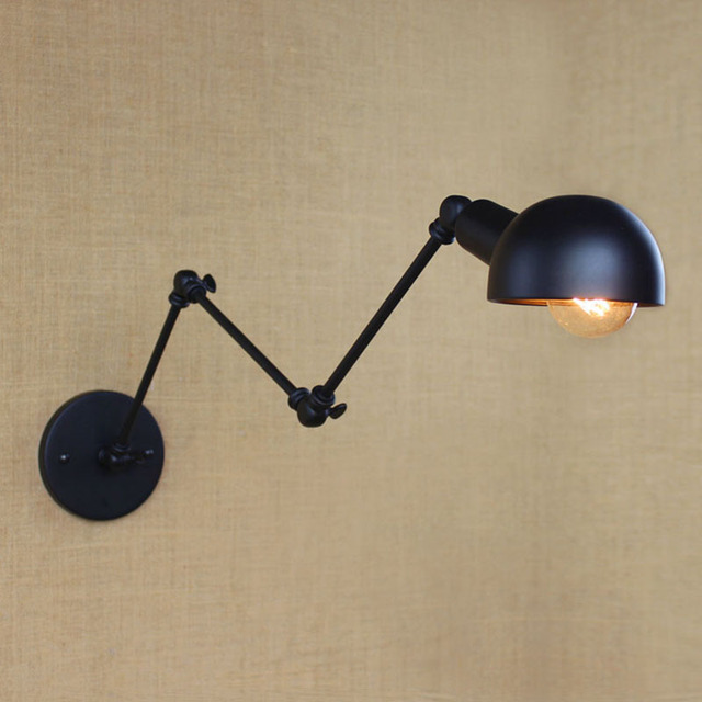 Retro Vintage industrial style long arm adjustable angle metal lampshade wall lamp for bar/foyer/kitchen/study