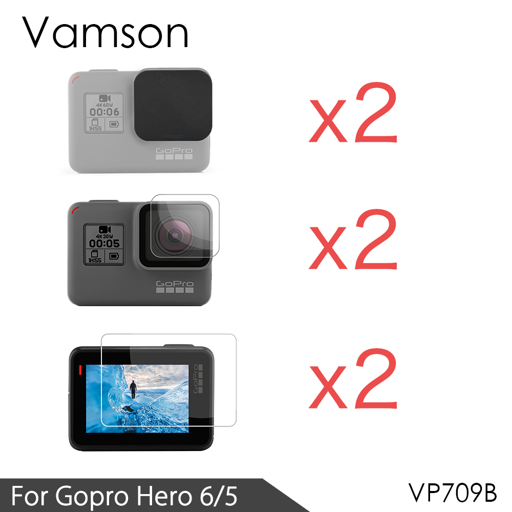 цена на Vamson for Gopro hero 6 5 Accessories 3 in 1 Lens Protection Cover+LCD Screen Protector + Lens Protector for Gopro Hero 5 VP709A