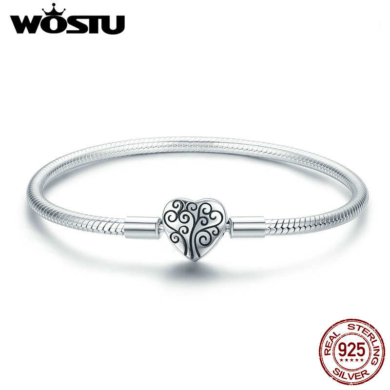 WOSTU Genuine 925 Sterling Silver Tree of Life Charm Bracelet & Bangle For Women Fit Original Brand DIY Beads Jewelry CQB066 bangle