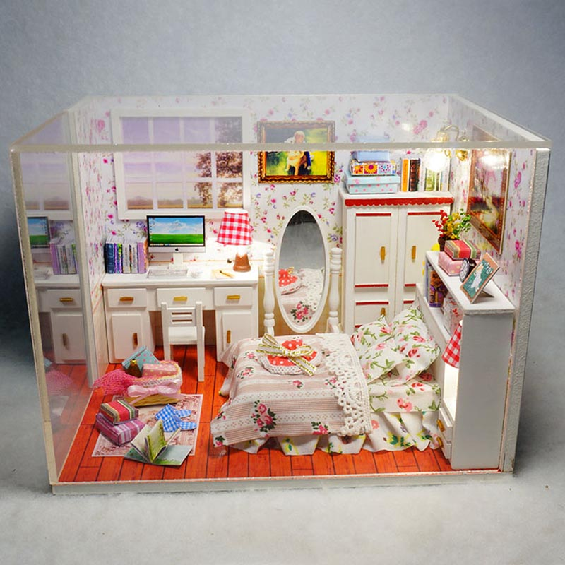 Diy Wooden Dollhouse Kits Miniature Doll House Furniture Building Model Birthday Gift Handmade Puzzle Toys Sweet Room
