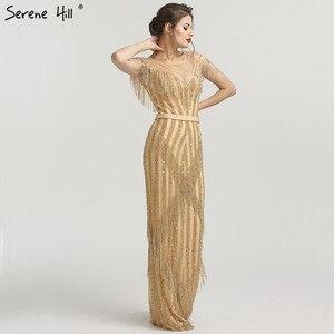 Image 3 - Новинка 2020 роскошные золотистые вечерние платья без рукавов с юбкой годе модные элегантные блестящие вечерние платья с бахромой и бисером LA6543