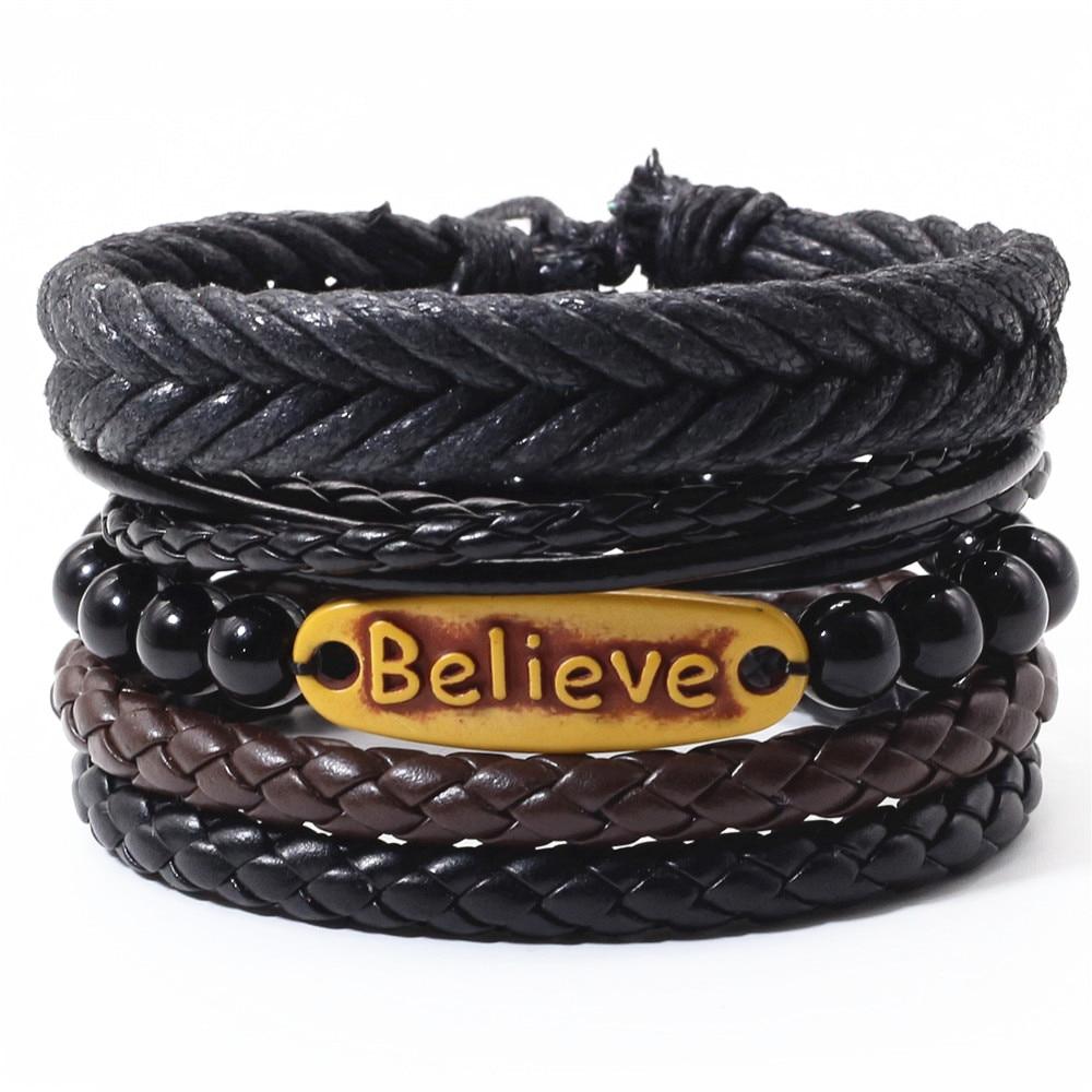 Believe Beads Ethnic 4 Pcs/set Charm Handmade Woven Men Leather Bracelets Women Vintage Bangle Male Homme Jewelry Accessories
