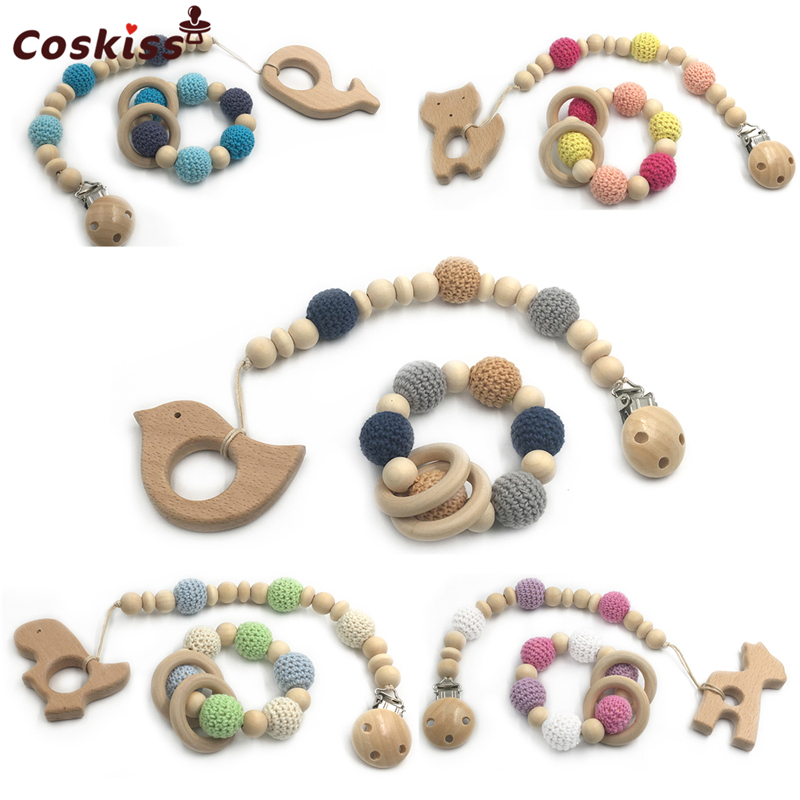 Wooden Baby Teether Rings Wooden Animal Pacifier Clips Organic Wood Montessori Toys Crochet Beads Teether Infant Teether Toys let s make baby teether wood animal rattle organic teether jungle toy wooden waldorf toys diy accessories can chew baby teether